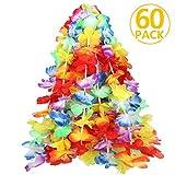 Fleurs Hawaïenne, ivencase Guirlande Hawaienne multicolore Colliers de Leis colorés réutilisables décoration - 60pcs Guirlande de Fleurs Idéal pour la cérémonie de Fête Soirée Anniversaire Vacances