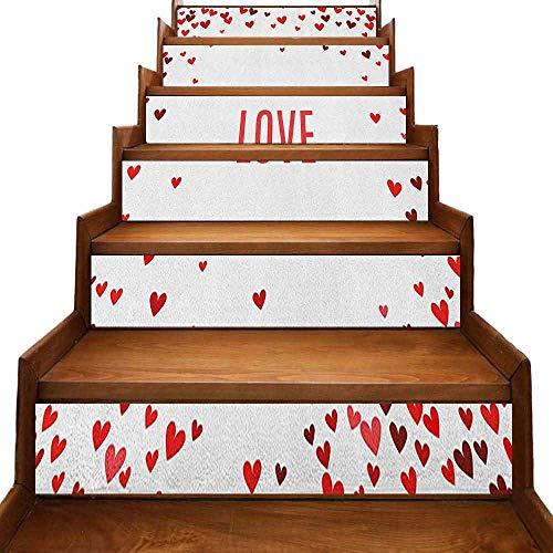 JiuYIBB Love Wallpaper Decor Retro Heart Pattern with Love Calligraphy apasionate Emotions - Patrón romántico vinilo beige bermellón