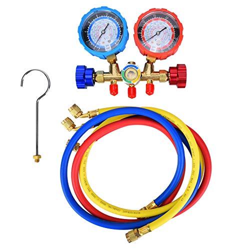 G1/4 Klimaanlage Kältemittel,Kfz-Klimaanlage Kältemittel Werkzeuge Autoklimaanlage Reparaturwerkzeug mit 3 Stück Schlauch für R22 R134A R404A R407C