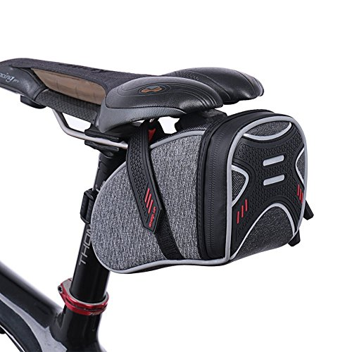 WATERFLY Strap On Bike Saddle Bag Bicycle Seat Bag Cycling Wedge Storage Bag Reflective Stripe