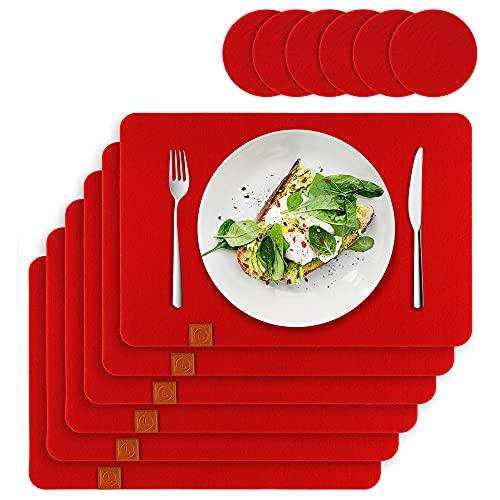 Lindenberg Living Premium Tischset Filz rutschfest - Rot | 6 Filz Platzsets Waschbar + 6 Glas-Untersetzer | Waschmaschinen geeignet | Platzdeckchen Groß, Abwaschbar | Design Filzmatte Unterlage