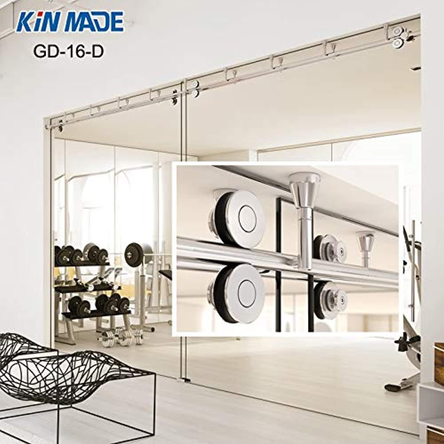 KIN Made Ceiling Mounted Sliding Glass Partition Door Full Set Hardware Kit  (Length  244cm Single kit, color  Stainless Steel)