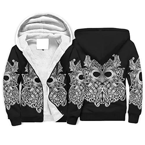 Zaclay Chaqueta con capucha para hombre y mujer, con cremallera, diseño vikingo, Odin, Unisex adulto, Blanco, 4XL