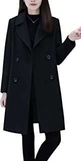 chouyatou Women's Basic Essential Double Breasted Mid-Long Wool Blend Pea Coat