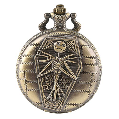 Pocket Watch Skull Head Vintage Antique Pendant Round Shape Nightmare Before Christmas Pocket Watch for Boys Mens Xmas Gift, Xmas Gift
