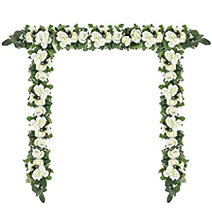 Momkids 3 Pcs (19.5 FT) Artificial Rose Garland Fake Silk Roses Vine Hanging Baskets Plants Flowers for Wedding Party Garden Arch DIY Home Decor(White)