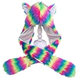 Ruiboyer Women Rainbow Stripes Furry Animal Hoodie Hat Fluffy Plush Ears Paws 3 in 1 Earflap Cap Scarf Gloves Mittens Warmer (A)