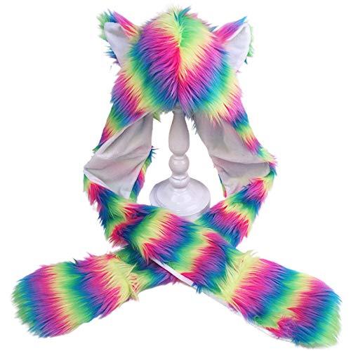 sakose Bufanda con Capucha, Mujeres Rainbow Furry Animal Hoodie Sombrero Orejas de Felpa Patas 3 en 1 Gorra Bufanda Guantes - A