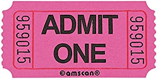 """Amscan Fun-Filled Admit One Pink Ticket Roll, 1"""" x 2"""""""
