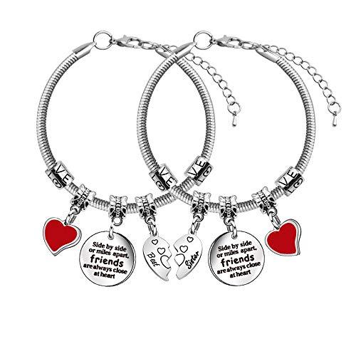 Pulseras de la mejor amiga para 2 mujeres pulseras serpiente pulseras corazón colgante pulseras mejor hermana amistad joyería