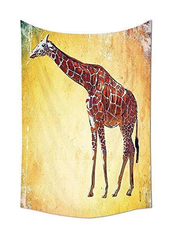 asddcdfdd tapiz colgante de pared estilo vintage jirafa ilustración acuarela animal africano fauna silvestre Safari Zoo retro arte dormitorio sala de estar Decor Multi, tela, 59W By 90.5L Inch