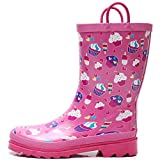 SOLARRAIN Girls Rubber Waterproof Rain Boots with Easy On Handles Non Slip Durable Mud Boots Cute Printed Rain Shoes for Toddler and Kids (Cupcakes, Numeric_8)