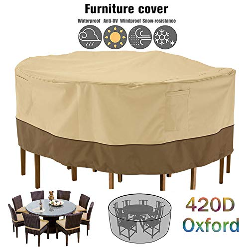 ZHAONI Round Waterproof Patio Furniture Covers, Furniture Set Covers Outdoor, Garden Table Covers with Windproof Drawstring, 420D Oxford Furniture Cover Anti-UV, Snow Protection,127x58cm/4x2ft