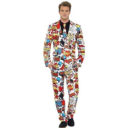 Smiffys Herren Kostüm Anzug Comic Strip Karneval Fasching Party Gr.L