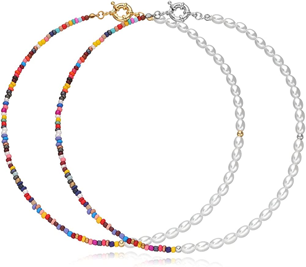 Boho Pearl Choker Necklace Bracelet Set,Colorful African Beads Chain Jewelry for Women Girls