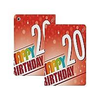 iPad Pro 11 ケース 2020 20歳の誕生日の装飾、赤い朱色の背景と抽象的な太陽ビーム20年パーティー、多色 20歳の誕生日の装飾 [Apple Pencil 2 ワイヤレス充電対応] オートスリープ/ウェイク ブックカバーデザイン 角度調節可能なスタンド アーバンプレミアムフォリオケース iPad 11インチ(2020)専用 多色