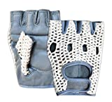 Prime Sports Leather Crochet Fingerless Driving Weight Training Cycling Wheelchair Biker Gloves (Grey/White 1037, Small)