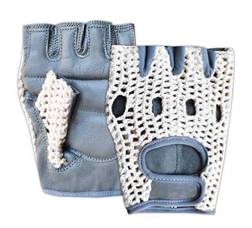 Prime Sports Leather Crochet Fingerless Driving Weight Training Cycling Wheelchair Biker Gloves (Grey/White 1037, Large)