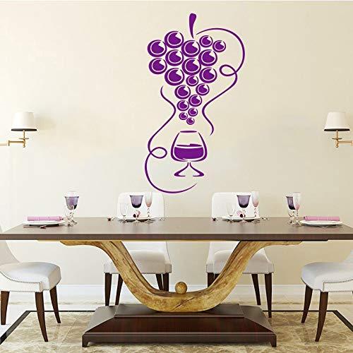 Sticker gastronomische druiven en wijnglazen vinyl muurtattoo behang keuken koelkast muursticker artiest decoratie <> 54x102cm