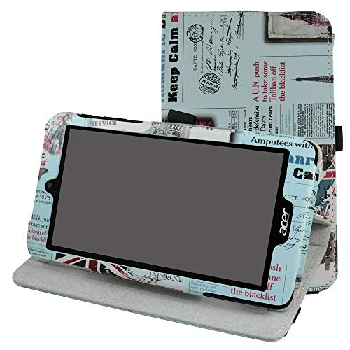 Acer B1-780 / B1-790 Rotating Case,Mama Mouth 360 Degree Rotary Stand with Cute Cover for 7' Acer Iconia One 7 B1-780 / Iconia One 7 B1-790 Android Tablet,Newspaper