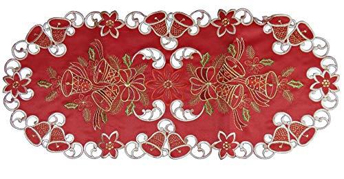 Western LIF estyle Camino de Mesa Mantel Mantel Bordado–Mantel de Navidad con Campanas de Navidad Rojo Oro,...