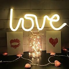Idea Regalo - Neon Light, LED Love Segni,Lampada da Muro Decorazione per Natale, Feste di Compleanno dei Bambini, Soggiorno, Festa di Nozze Decor(bianco caldo)