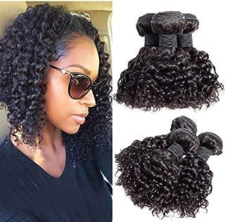Brazilian Virgin Hair Kinky Curly Hair Bundles Virgin Brazilian Kinkys Curly Weave Human Hair Bundles Curly Bundles Natural Black Color(10 10 10)