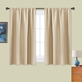 NICETOWN Blackout Room Darkening Curtains - Home Decoration Light & Noise Reducing Thermal Insulated Window Draperies with Rod Pocket Top (Biscotti Beige, Set of 2, 42 inches Wide x 45 inches Long)