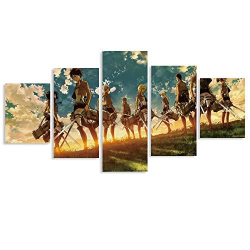 Póster de anime de Attack on Titan con arco carmesí y flecha, impresión artística para pared, póster moderno para decoración de dormitorio familiar de 50 x 26 cm
