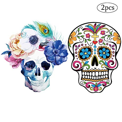 Skull Patches Sugar Rose Cross Ghost Iron on Sticker Day of The Dead Decor Personality Heat Transfer Decals for Jackets Jeans Clothes Backpacks Men Women Boys DIY Decorations 2PCS