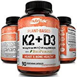 NutriFlair Plant Based K2 (Mk7) with D3 Vitamins with BioPerine, 90 Capsules