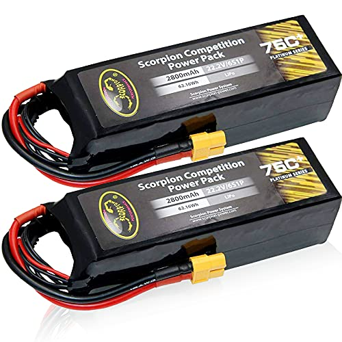Scorpion Power 2800mAh 75c 22.2v 6S LiPo Battery Pack with XT60 for RC Car Boat Truck Airplane Helicopter Drone (2Pack)