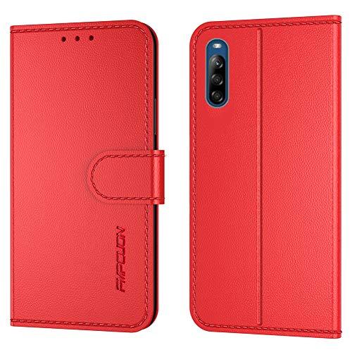 FMPCUON Handyhülle Kompatibel mit Sony Xperia L4(Neueste),Premium Leder Flip Schutzhülle Tasche Hülle Brieftasche Etui Hülle für Sony Xperia L4(6.2 Zoll),Rot