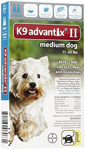 Advantix II Flea Drops, Tick and Mosquito Prevention K9 Medium Dog 2 Doses