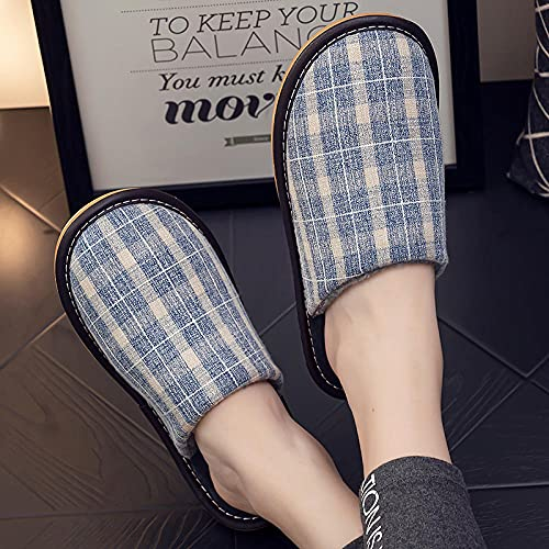 QPPQ Zapatillas de algodón de interior, zapatillas de invierno cálidas, zapatillas de algodón cómodas antideslizantes - Azul_6.5/7, Zapatillas antideslizantes de invierno