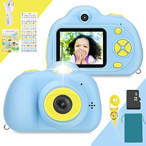Cámara Digital para niños, 8 MP 1080P, Pantalla a Color, Doble cámara, Zoomde 4X, reconocimiento Facial, a Prueba de Golpes, Regalos de cumpleaños para niños, Tarjeta 32GB incluida.