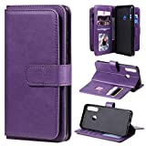FOR TL for HUAWEI Y6P Multifuncional Magnético Hebilla de cobre Horizontal Funda de cuero de color sólido con 10 ranuras for tarjetas y billetera y soporte y marco de fotos Xiaomi ( Color : Purple )