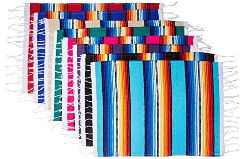 Mexican Serape Style Place Mats, Assorted Place Mats for Mexican Party or Wedding Decorations, 18 inch by 13 inch (Set of 8)