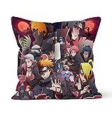 Fundas de almohada decorativas de doble cara con cierre de cremallera oculta,fundas de almohada decorativas de Naruto Akatsuki con personajes de anime,para decoración de coche,sofá,cama 45cm x 45cm