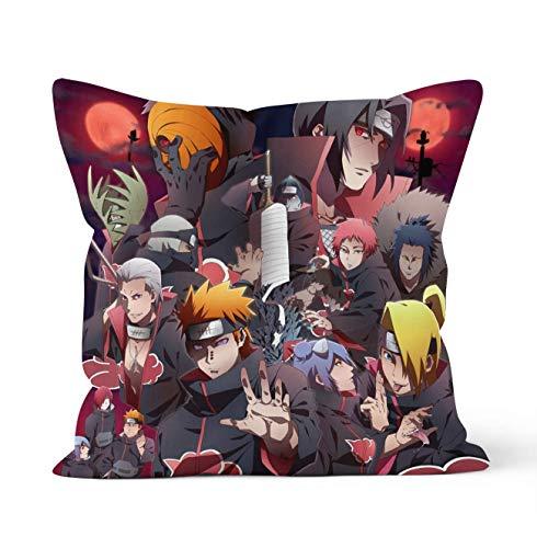 Fundas de almohada decorativas de doble cara con cierre de cremallera oculta,fundas de almohada decorativas de Naruto Akatsuki con personajes de anime,para decoración de coche,sofá,cama 45cm x