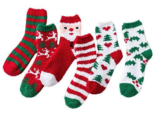 Azue Kuschelsocken Damen Wintersocken Warme Flauschige Weihnachtssocken Fuzzy Sock 6 Paare Weihnachten Serie