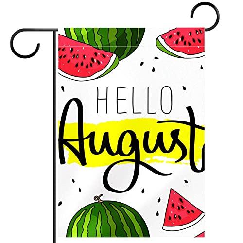 YATELI Bandiera da Giardino 28 x 40 Pollici Ciao August Watermelon. Banner bifacciale per...