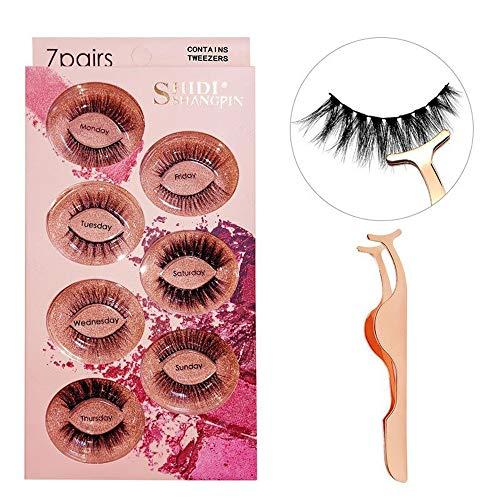 Faux Cils 7 Paires, 3D Vison Main réutilisable Long et épais Fluffy Faux Cils pour Le Maquillage Extension de Cils, Contient Brucelles,Mixed