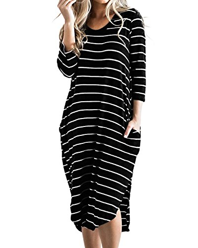 Cnfio Women Casual Summer Dress 3/4 Sleeve O Neck Long Oversized Side Slit Stripe Dresses with Pockets and High Low Hemline Black S