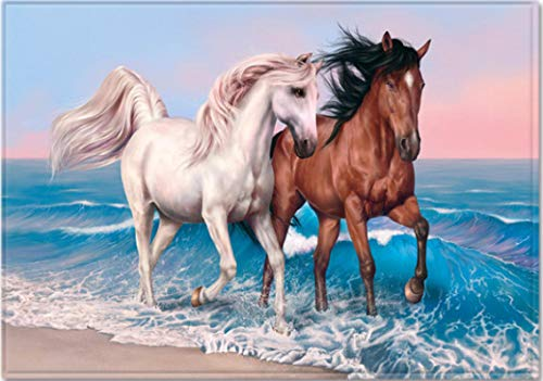 Cartoon Horse Walking by The Sea 3D Printed Carpet Living Room Bedroom Non-Slip Carpet Coffee Table Sofa Area Exquisite Polyester Carpet120*160Cm