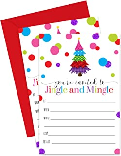 Jingle and Mingle Christmas Party Invitations with Red Envelopes (15 Pack) Fill in Blank Invites for Holiday Parties, Fun Festive Celebrations