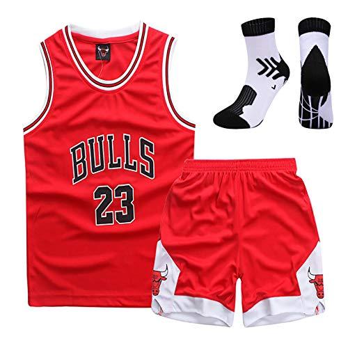 MRYUK El Traje de Uniforme de Baloncesto para niños, Chicago No. 23 Jersey, Fibra 100% de poliéster, se Puede Lavar repetidamente, Traje + Calcetines Red-M