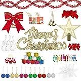 AIOIA Decoraciones para Árboles de Navidad 78 Piezas,Moños,Barras de...