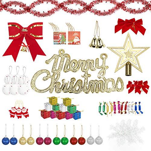 AIOIA Decoraciones para Árboles de Navidad 78 Piezas,Moños,Barras de Colores,Tarjetas,Campanas,Estrellas en La Parte Superior del Árbol,Bolas de Nieve,Copos de Nieve,Dulces,Cajas de Regalo Pequeñas