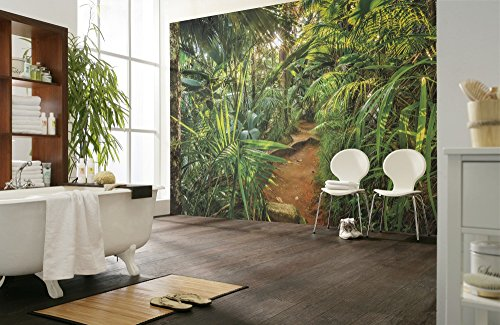 Komar 8-989 Fototapete Jungle TRAIL-368 x 254 cm-Tapete, Wand Dekoration, Urwald, Dschungel, Tropen, Landschaft-8-989, Bunt, 368 x 248 cm (Breite x Höhe)